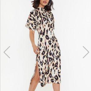 New leopard dress with slit size 8